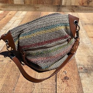 The Sak Large Rainbow Striped Crochet Bag